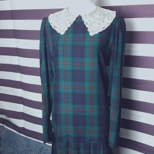 Vintage Laura Ashley 80's Plaid Maxi Dress